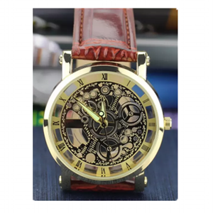 Fashion korea style hollow mechanical watch gold plated hot sales best watch classic roman leather belt bracelet timepieces
