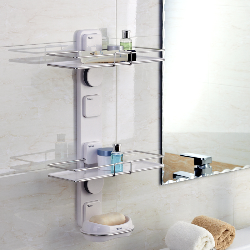 Suction Cup Bathroom Shelf Storage Rack Corner Bracket