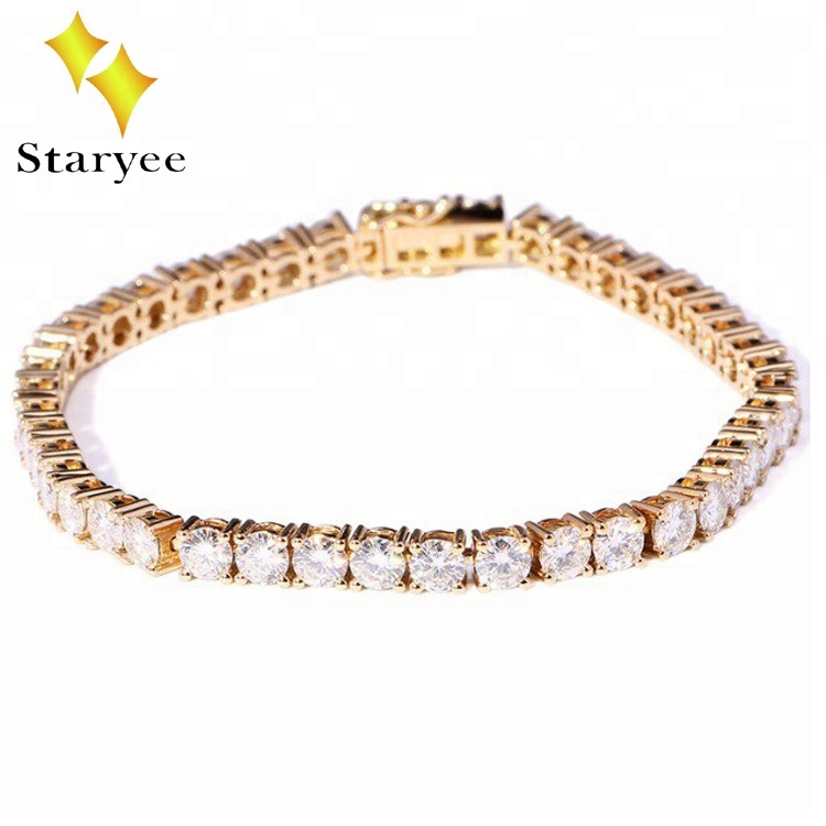 Whole China Solid 14k Yellow Gold Moissanite Diamond Tennis Bracelet Product On Alibaba