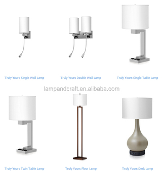 Truly Yours Modern Hotel Lamps Collection With 2 Convenient Outlet For USA  Market