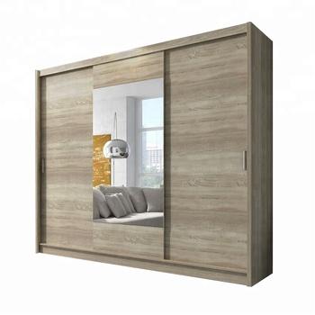 Modern Style I Shape Bedroom Wardrobe Design Sliding Mirror Door