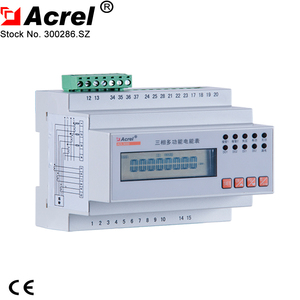 3 phase 4 wire (3p4w) multifunction din rail energy meter with 3*10(40)A ac3*220/380V indirect connection via CT