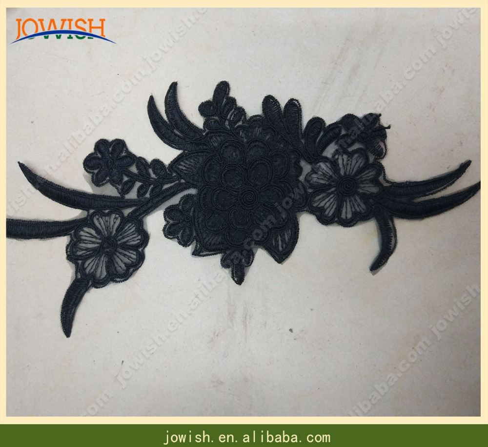 black custom embroidery patch with flower flora 3d designs cheap indian embroidery lace applique patch