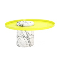 Natural Marble Base Design Round Center Coffee Table With Stainless Steel Top
