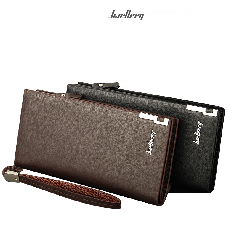 Hot sale brand men's long style pu leather wallet