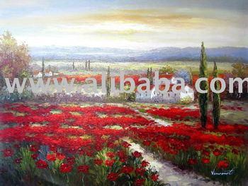 Red poppy flower field oil paintingtuscany oil painting buy red poppy flower field oil paintingtuscany oil painting mightylinksfo