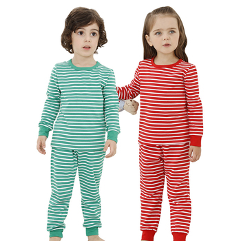 Binding Off Collar Cotton Stripe Matching Family Christmas Pajamas