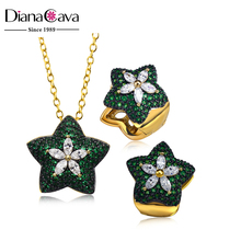 New White Gold Green Color CZ Stones Star Charm Pendant Jewelry Necklace Set