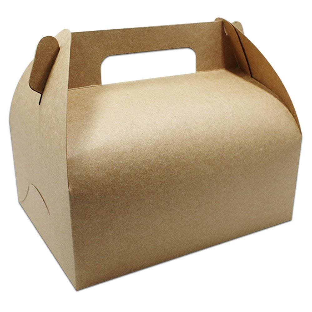 "Brwon Color Many Sizes Kraft Paper Cake Gift Packaging Box with Handle Brown Paper Packing Box for Gift Package Cake Packaging Box (10, 20x15x8cm (7.8""x5.9""x3.1""))"
