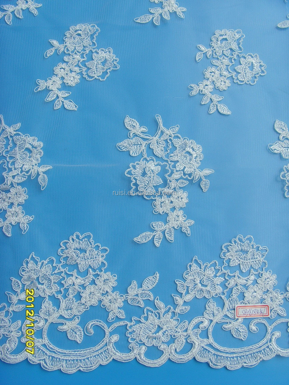 Fancy ivory hand embroidered beaded tulle lace fabric for