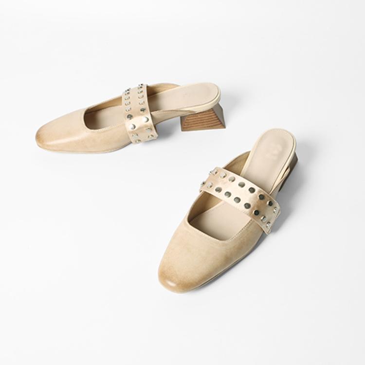 Female Italian shoes flats dress rivet hot flat sell designer dress mules leather wffTBqaZ