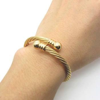 Beichong Brand Vintage Design Stainless Steel Adjule Wire Banle Bracelet For Men Gold Bangle