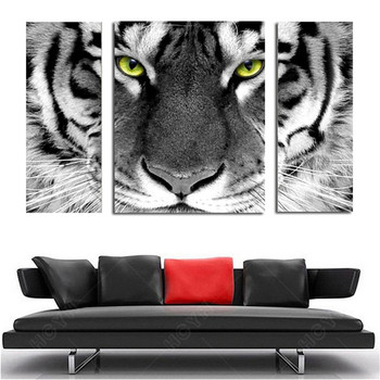 3 Panels Wall Art Canvas Painting For Dining Room Decor Full Drill Diamond Kits Tiger