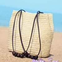 New Vintage Summer Women Fashion Casual Straw Bucket Shopping Beach Shoulder Bag