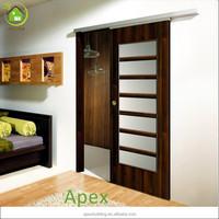 Solid wooden frosted glass interior sliding pocket door /closet door