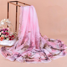Fashionable ladies scarf plain weave printed flowers imitated silk scarf