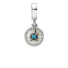 2018 China Fabriek 925 Sterling Zilveren Kompas Rose Dangle Charm Zilver Emaille & Cyaan Blue Crystal Hanger Charms