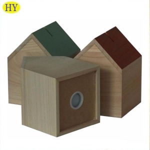 Antique Custom House Shape Wooden Money Saving Box