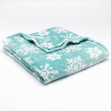 Oversized Microplush Throw Plush Super Soft Blue Snowflake Blanket