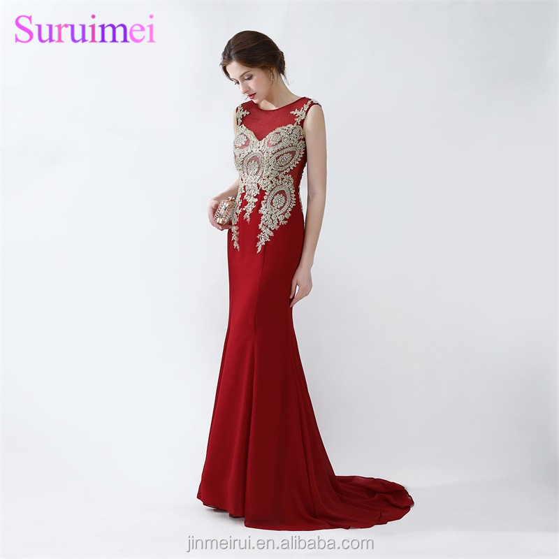 New Arrival Wind Red Burgundy Chiffon Evening Dresses With Gold Embroidery Beaded Mermaid Evening Gown Free Shipping