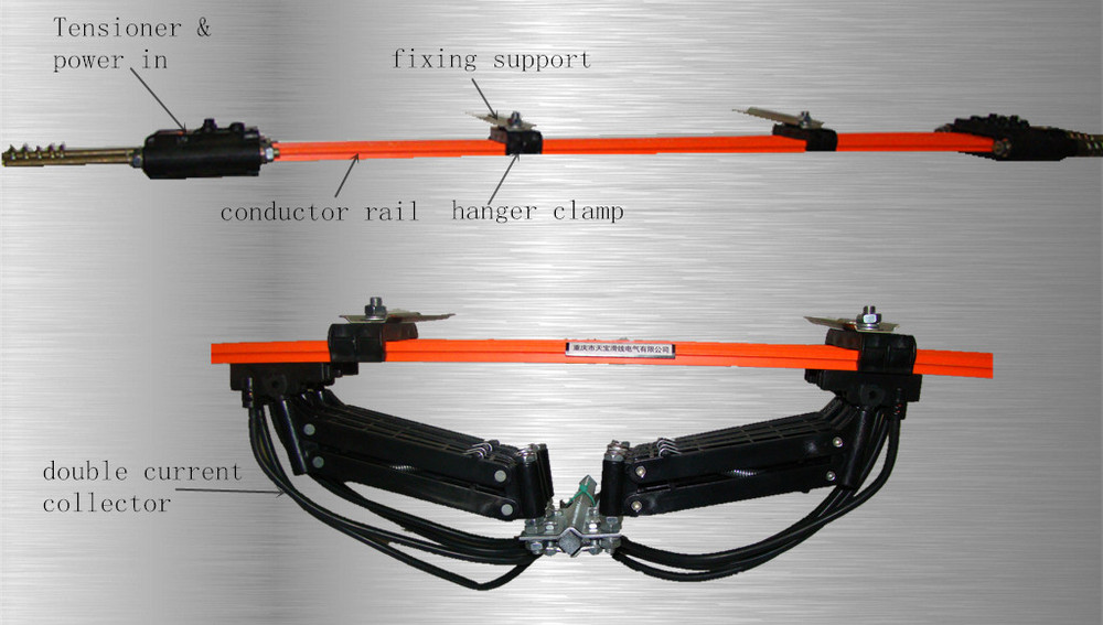 Electric Power Rail : Crane copper insulated electrical contacts sliding wire