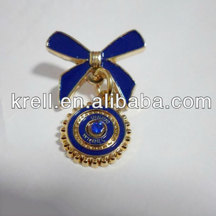 customized rotary lapel pin for inner wheel with sapphire