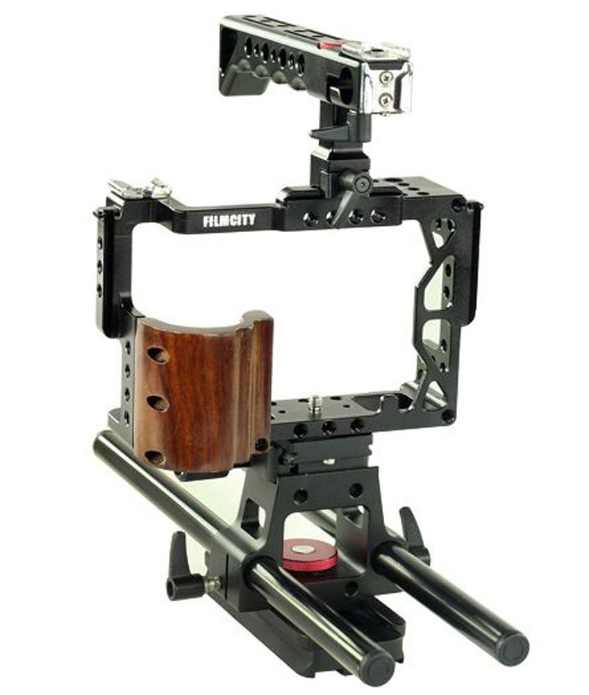 FC-A7RS-C Filmcity Video Camera Cage Stabilizer With Top Handle /& 15mm Rail Rod Support System For Sony a7R II a7S II /& a7 II