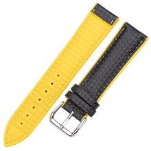HENGRC Ремешки для наручных часов из кожи + резины для женщин и мужчин 18 мм 20 мм 22 мм ремешок браслет со стальной пряжкой черный желтый оранжевый(China)