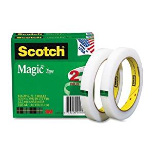"Wholesale CASE of 15 - 3M Scotch Invisible Magic Tape-Magic Tape, 3"" Core, 1/2""x2592"", 2/PK, Transparent"