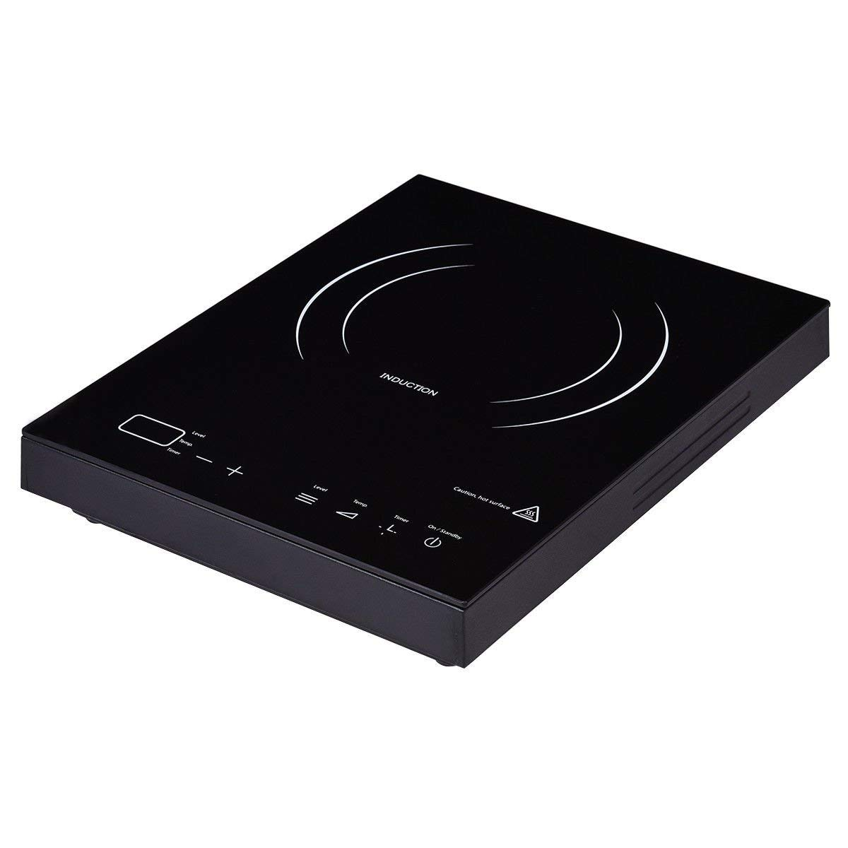 GHP 1800W Portable Black Countertop Induction Cooker with LED Display & Touch Control