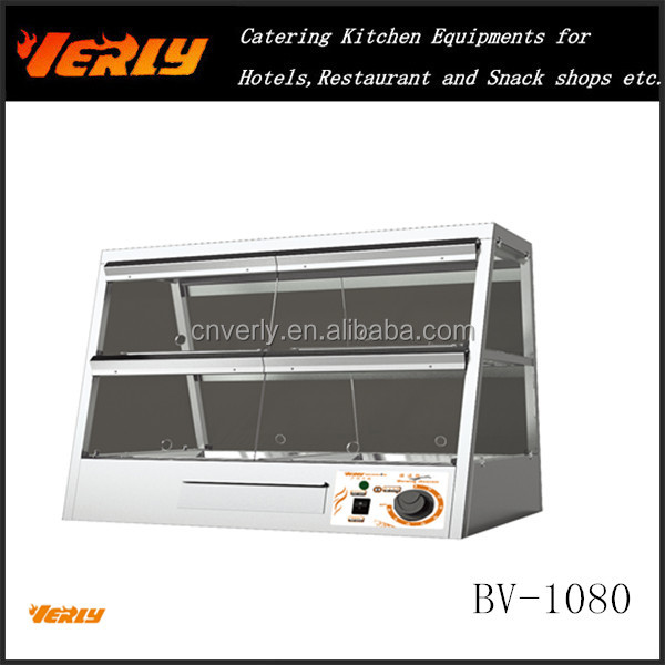 Electric Glass display 2 layer food warmer showcase/ fast food equipment BV-1080
