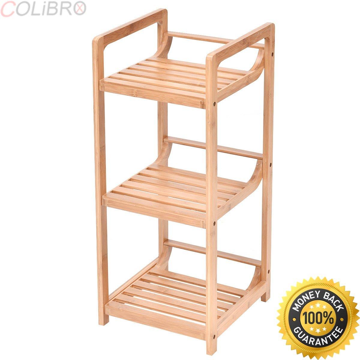 COLIBROX-3-Tier Bathroom Shelf Bamboo Bath Storage Space Saver Organizer Shelves Rack New. bamboo bathroom wall shelf. bamboo bathroom space saver over toilet. bamboo space saver bed bath beyond.
