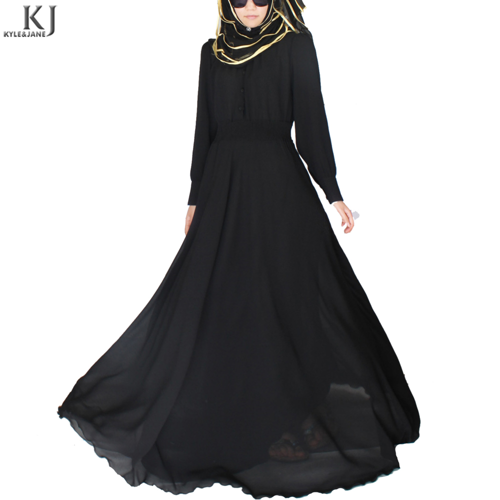 4edea1f86255e Made To Order black chiffon umbrella cut muslim dress dubai abaya islamic  dress designs