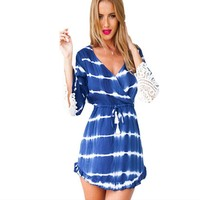 Cleavage Neckline Chiffon Bell Sleeve Flutter Fashion Ladies Lace Tops