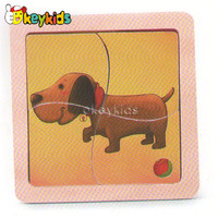 2016 wholesale baby wooden dog puzzle, educational kids wooden dog puzzle, fashion children wooden dog puzzle W14C169