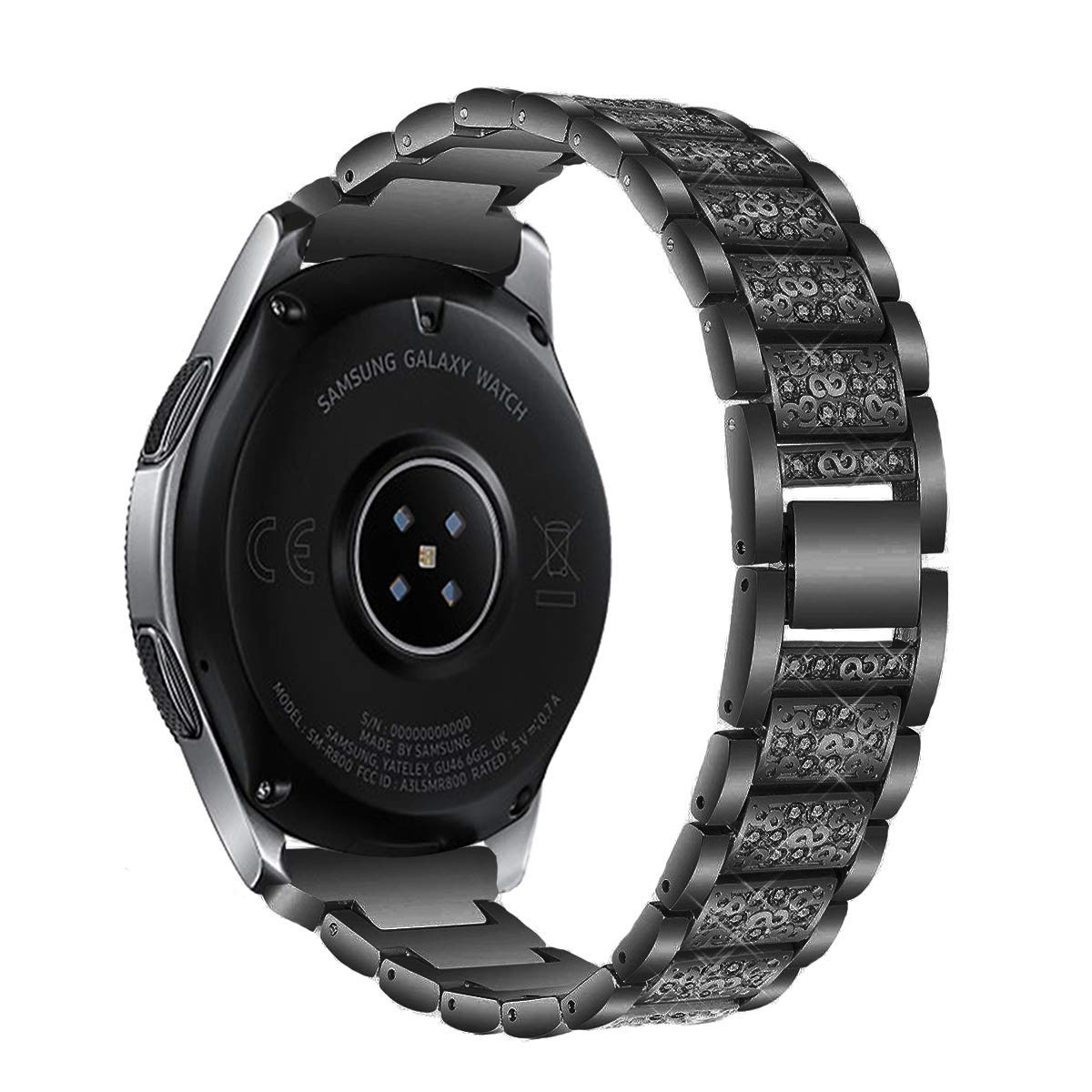 Kartice Compatible Samsung Galaxy Watch(46mm) Bands,22mm Galaxy Watch Band Alloy Crystal Rhinestone Diamon Replacement Bracelet Strap fit Samsung Galaxy Watch SM-800 Smart Watch(46mm).-Black
