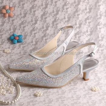 Beste Zilveren Glitter Schoenen Lage Hak Sandalen - Buy Zilveren Glitter KK-14