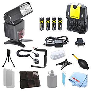 Pro series SB1010 Slr Ttl Flash + 4 Rechargeable AA Batteries + Home / Car Charger + 180 Degree Quick Flip rotating Flash Bracket + Heavy Duty Off-Camera Flash Cord for Nikon D3000, D3100, D3200, D3300, D90, D7100, D600, D610, D700 with a Complete Starter Kit