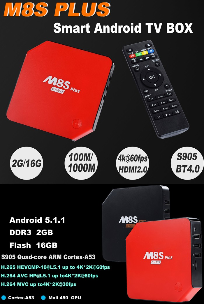 Best Selling android 5.1 Smart Tv Box M8S Plus 10/100/1000M Ethernet add 1000M arabic iptv box internet tv