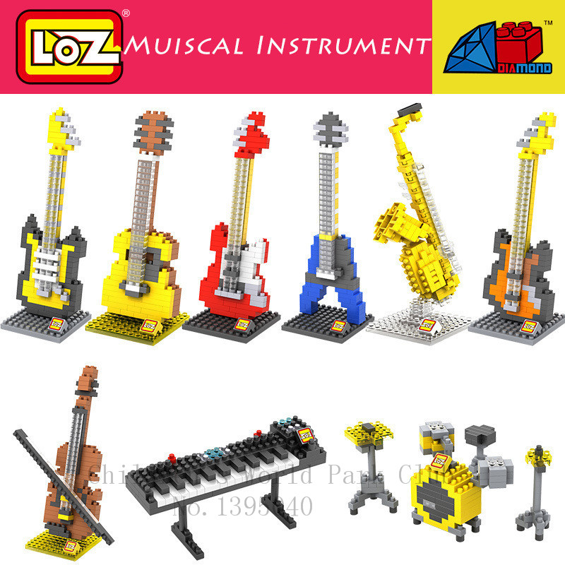 LOZ DIY Musical Instrument Mini Building blocks Models Guitar Bass Drum Kit Keyboard Violin Craft Present Gift