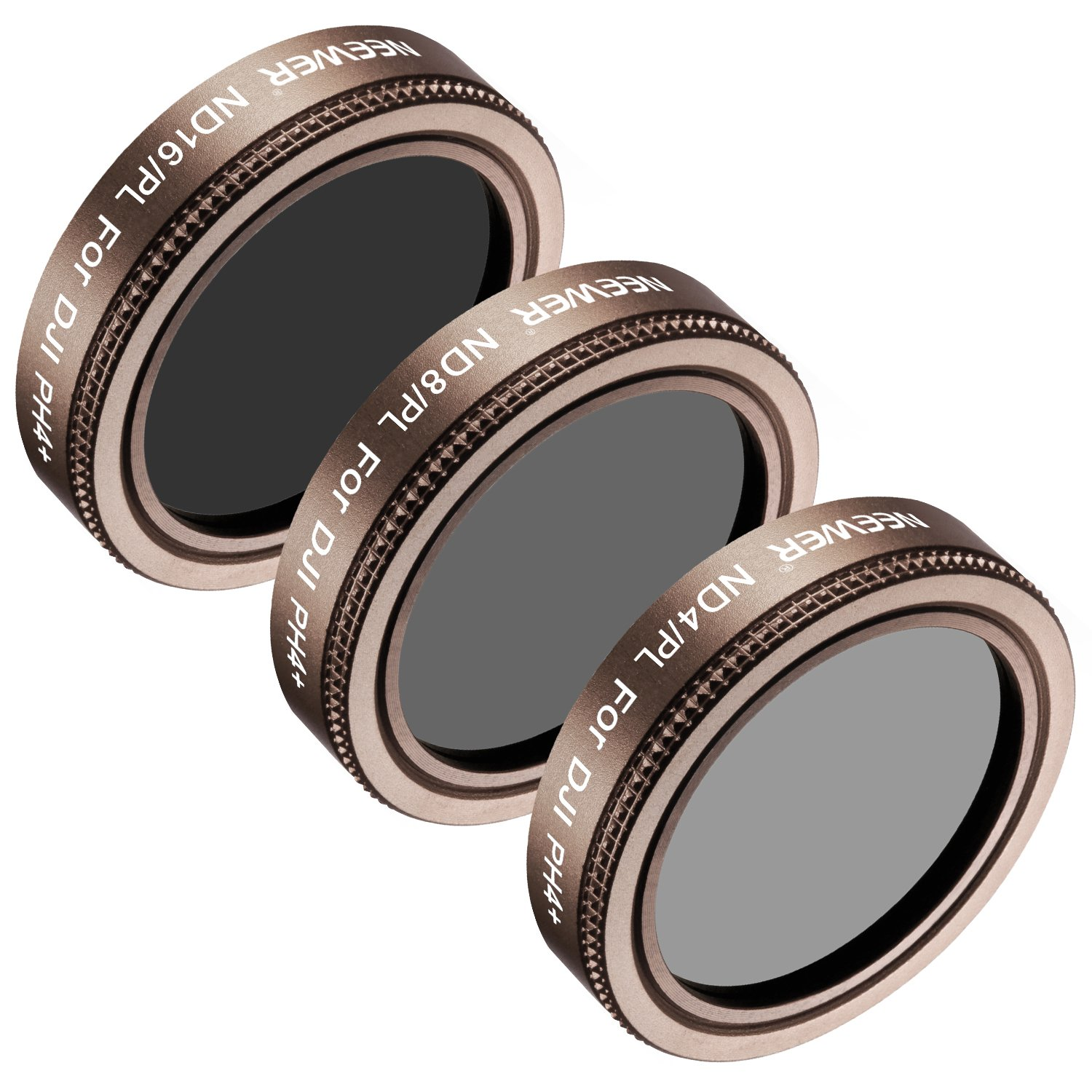 ND4//PL ND8 ND16//PL Neewer 6 Pieces Pro Lens Filter Kit for DJI Mavic Air Drone Quadcopter Includes: ND4 Made of Multi Coated Waterproof Aluminum Alloy Frame Optical Glass Gold ND8//PL ND16