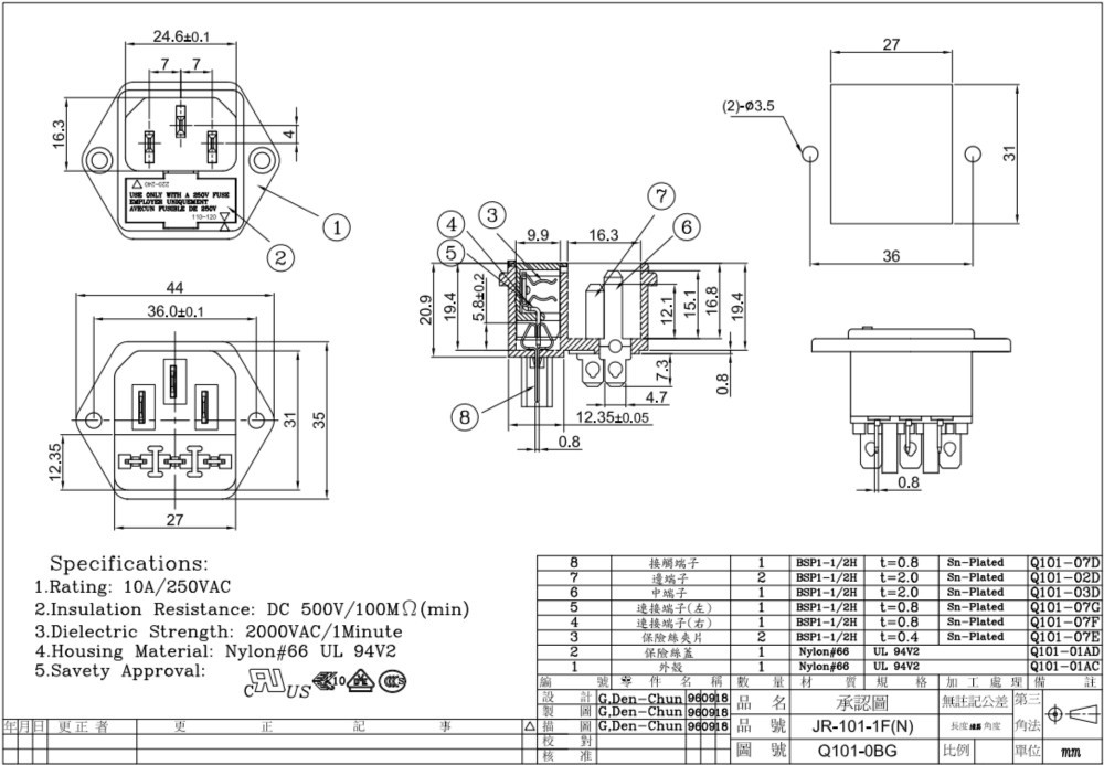 Ul Cul Enec Vde Ccc Jr 101 1f N Iec320 C14 Ac Power
