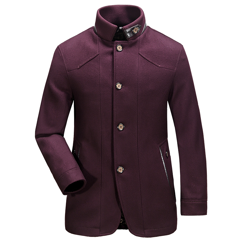 Mens Autumn Winter Brand Slim Type Double Breasted Wool