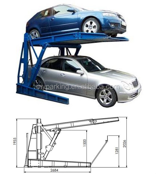 Two Level 2 Post Tilt Parking Lift/ double stack parking system ...