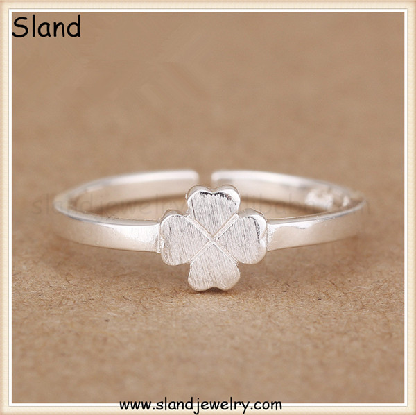 Sland accessory jewelry brand wholesale pure handcrafted four leaf clover design adjustable 92.5 sterling silver stackable rings
