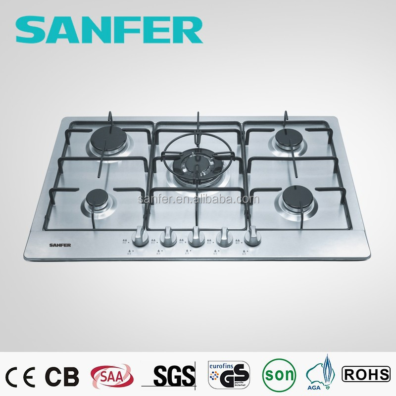New style cheap popular 5 burners built-in stainless steel gas hobs cast iron or ceramic pan support front control
