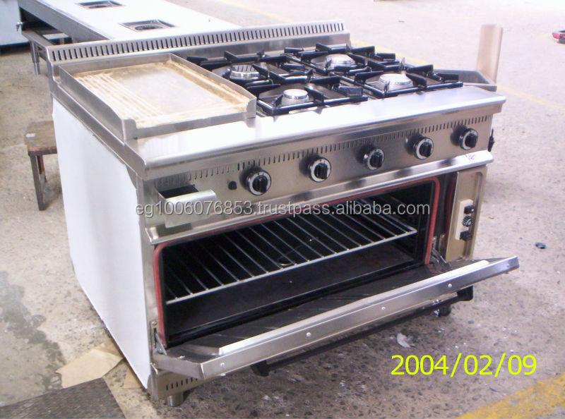 4 quemadores m s parrilla de gas con horno gama hotel for Parrilla cocina industrial