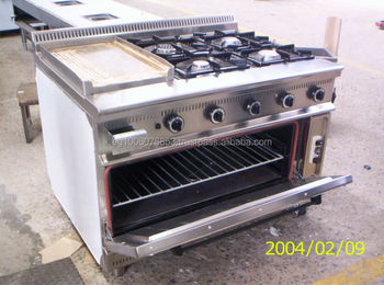 4 Burners Plus Grill With Oven Gas Range Hotel Kitchen Equipment ...