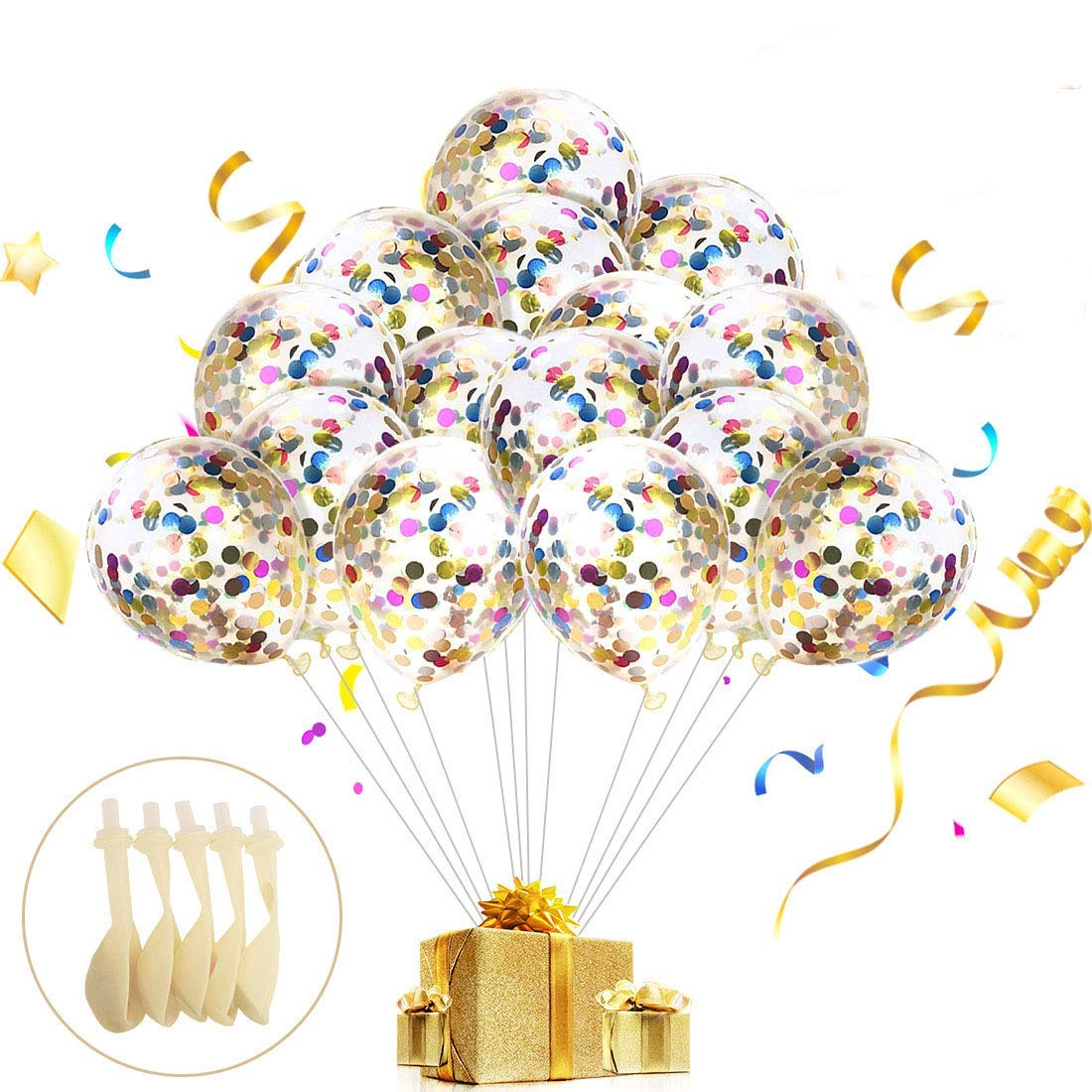 30Pcs Multicolor Confetti Balloons 12 Inches Latex Party Balloons With Paper Confetti Dots For Wedding Proposal Christmas Birthday Party Decorations (Multicolor Confetti Balloons,Mouth Piece Included)