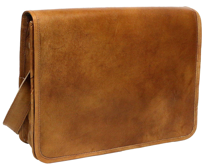 PC Leather Full Flap Messenger Handmade Bag Laptop Bag Satchel Bag Padded Messenger Bag School Bag 15X11X4 Inches